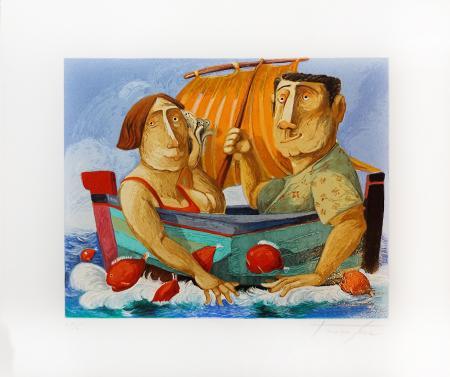 Quadro di Pino Procopio La voce del mare - litografia polimaterica cartone