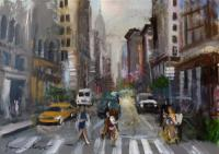 Work of Gianni Mori - NY people  oil canvas