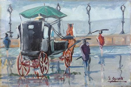 Quadro di G. Spinelli Carrozza sotto la pioggia - olio tela