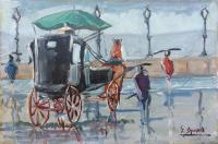 Work of G. Spinelli - Carrozza sotto la pioggia oil canvas