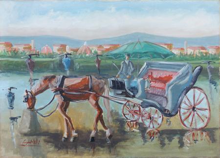 Quadro di G. Spinelli Carrozza - olio tela