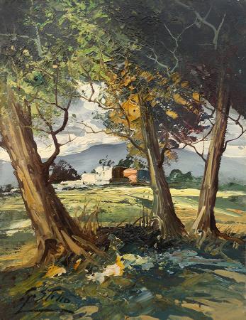 Art work by S. Stilio Paesaggio con alberi - oil table