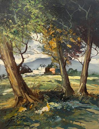 Quadro di S. Stilio Paesaggio con alberi - olio tavola