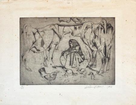 Quadro di Arturo Checchi Donna a lavoro - incisione carta