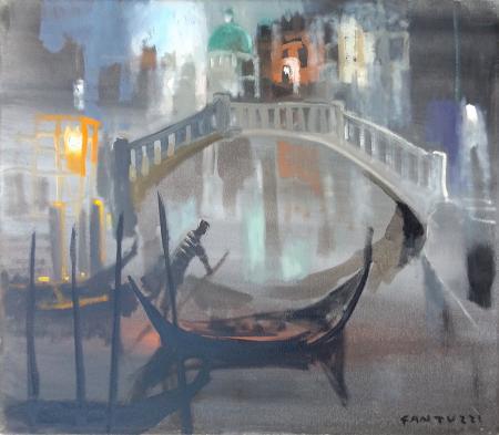 Quadro di Eliano Fantuzzi Il ponte - olio tela