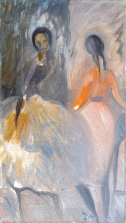 Quadro di Corrado Zanzotto Ballerine - olio tela