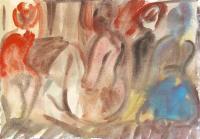 Quadro di Corrado Zanzotti - Donne nude acquerello carta
