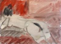 Quadro di Corrado Zanzotti - Donna di schiena sdraiata acquerello carta