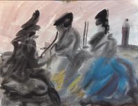 Quadro di Corrado Zanzotti - Tre figure acquerello carta