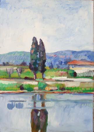 Art work by Luigi Pignataro Paesaggio sul fiume - oil table