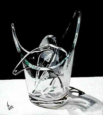 Quadro di Paolo Lenti Pezzi di vetro - olio legno