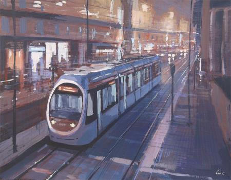 Quadro di Claudio Cionini Tram a Firenze - Pittori contemporanei galleria Firenze Art