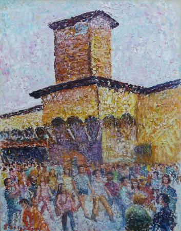 Art work by Guido Borgianni in Piazza - oil canvas
