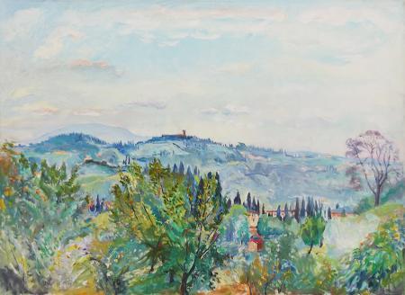 Quadro di Meyer von Zollikon Veduta di Prato dello Strozzino, Firenze - olio tela