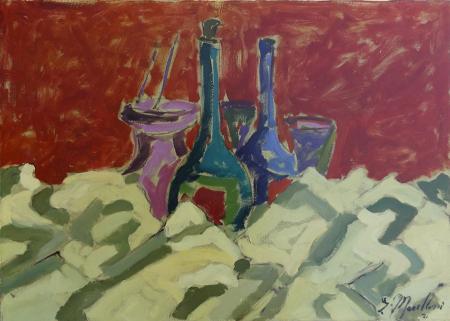 Quadro di  Marilloni Composizione con bottiglie - olio tela