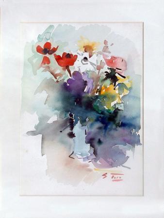 Quadro di Gino Tili Fiori - acquerello carta