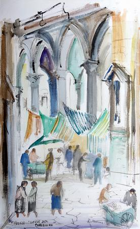 Art work by Rodolfo Marma Logge del Porcellino, Firenze - watercolor heavy-weight paper