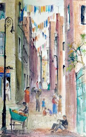 Quadro di Rodolfo Marma New York, Alley in Harlem  - Pittori contemporanei galleria Firenze Art