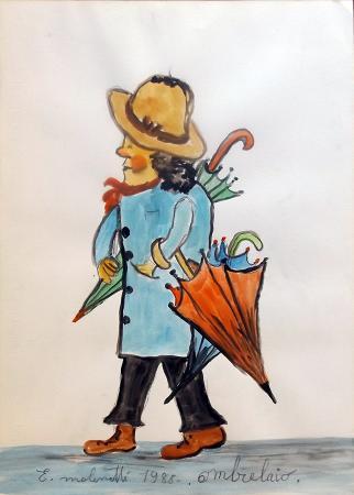 Quadro di Emilio Malenotti Ombrelaio - acquerello carta