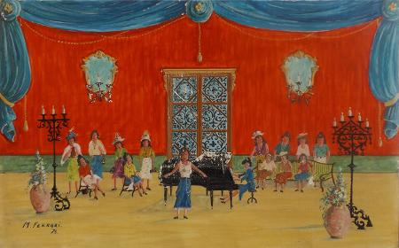 Quadro di M. Ferrari Concerto per donne  - acrilico cartone