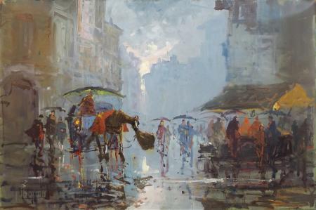 Quadro di Mario Poggiali Carrozze sotto la pioggia , olio su faesite 60 x 40 | FirenzeArt Galleria d'arte