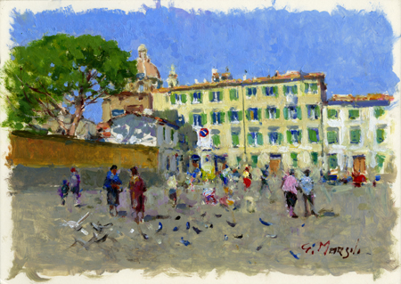 Art work by Graziano Marsili Piazza del Carmine - oil cardboard