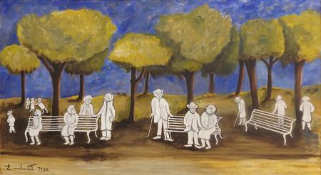 Art work by Emilio Malenotti Il giardino della terza età - oil hardboard