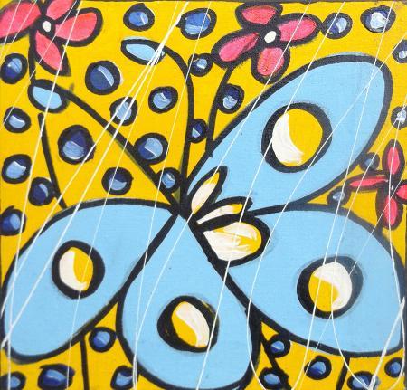 Quadro di  Oklit Farfalle e fiori - acrilico tela