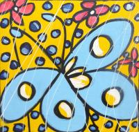 Work of  Oklit - Farfalle e fiori acrylic canvas