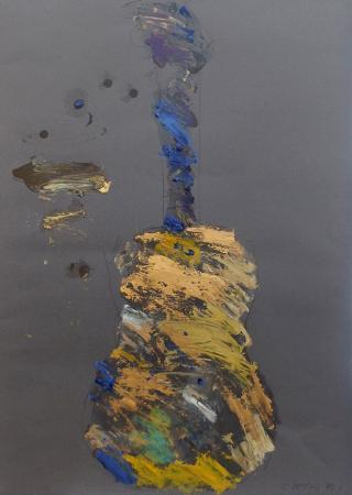 Art work by Giuseppe Chiari Chitarra - mixed paper