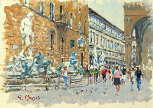 Art work by Graziano Marsili Piazza della Signoria - oil cardboard