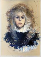 Quadro di firma Illeggibile - Ritratto di donna olio cartone