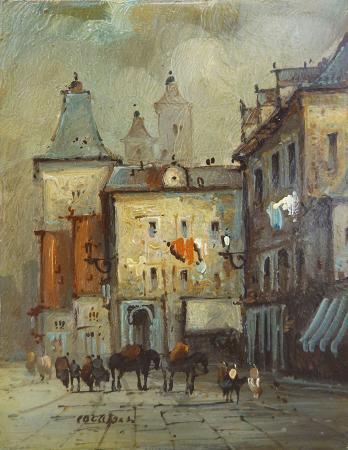 Quadro di Sergio Cozzuol Vecchia città - olio rame
