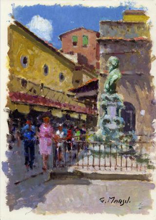Quadro di Graziano Marsili Sul Ponte Vecchio - olio cartone