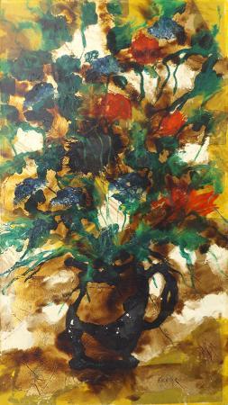Quadro di Enzo Kocevar Fiori su fondo oro - olio tavola