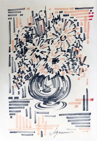 Art work by Ugo  Signorini  Progetto per vaso di fiori - marking pen paper