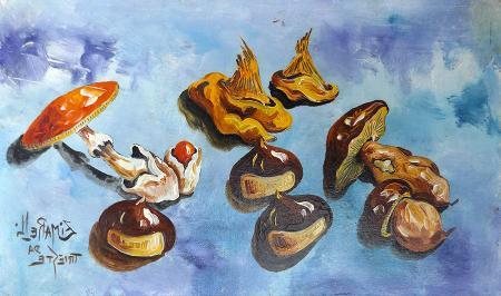 Quadro di  Zimarelli (da Trieste) Autunno in tavola - olio cartone telato