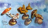 Quadro di  Zimarelli (da Trieste) - Autunno in tavola olio cartone telato