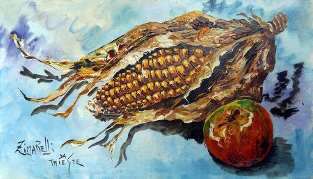 Quadro di  Zimarelli (da Trieste) Pannocchie e mele - olio cartone telato