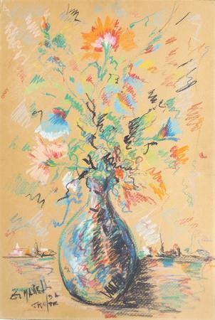 Quadro di  Zimarelli (da Trieste) Vaso di fiori - pastello cartone