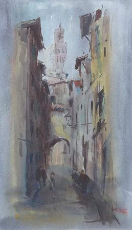 Art work by Gino Tili Firenze - watercolor paper