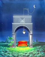 Quadro di Franco Lastraioli - Notturno con divano rosso olio tela