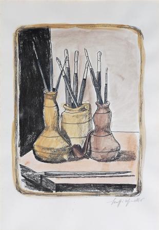 Quadro di Marcello Scuffi Fumo e pennelli  - litografia carta