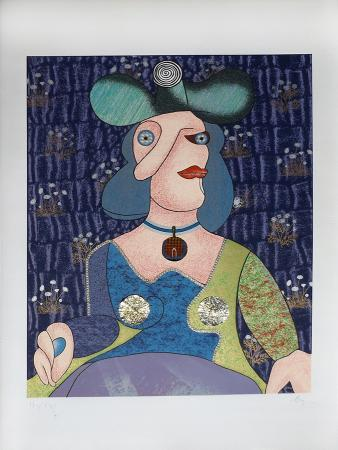 Art work by Enrico Baj Omaggio a Picasso - mixed paper