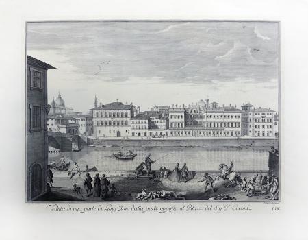 Quadro di  Antiquariato Veduta di una parte dell'Arno dalla parte opposta al Palazzo Corsini - stampa carta
