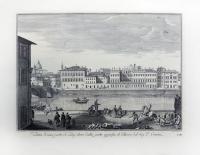 Quadro di  Antiquariato - Veduta di una parte dell'Arno dalla parte opposta al Palazzo del Sig. P. Corsini stampa carta