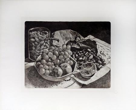 Quadro di Mario Agostini Melograna e castagne - incisione carta