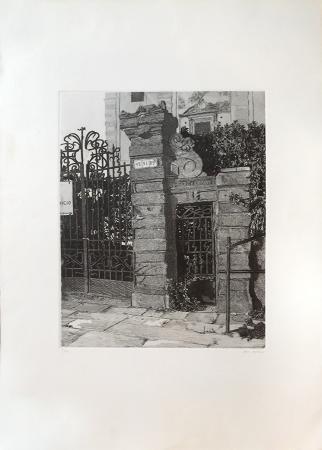 Quadro di Gianni Cacciarini Cancello d'ingresso - incisione carta