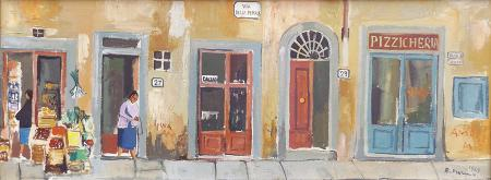 Quadro di Rodolfo Marma Piccoli negozi antichi  - olio tela