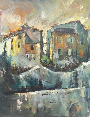Art work by Gino Tili Case e muri di città - oil canvas